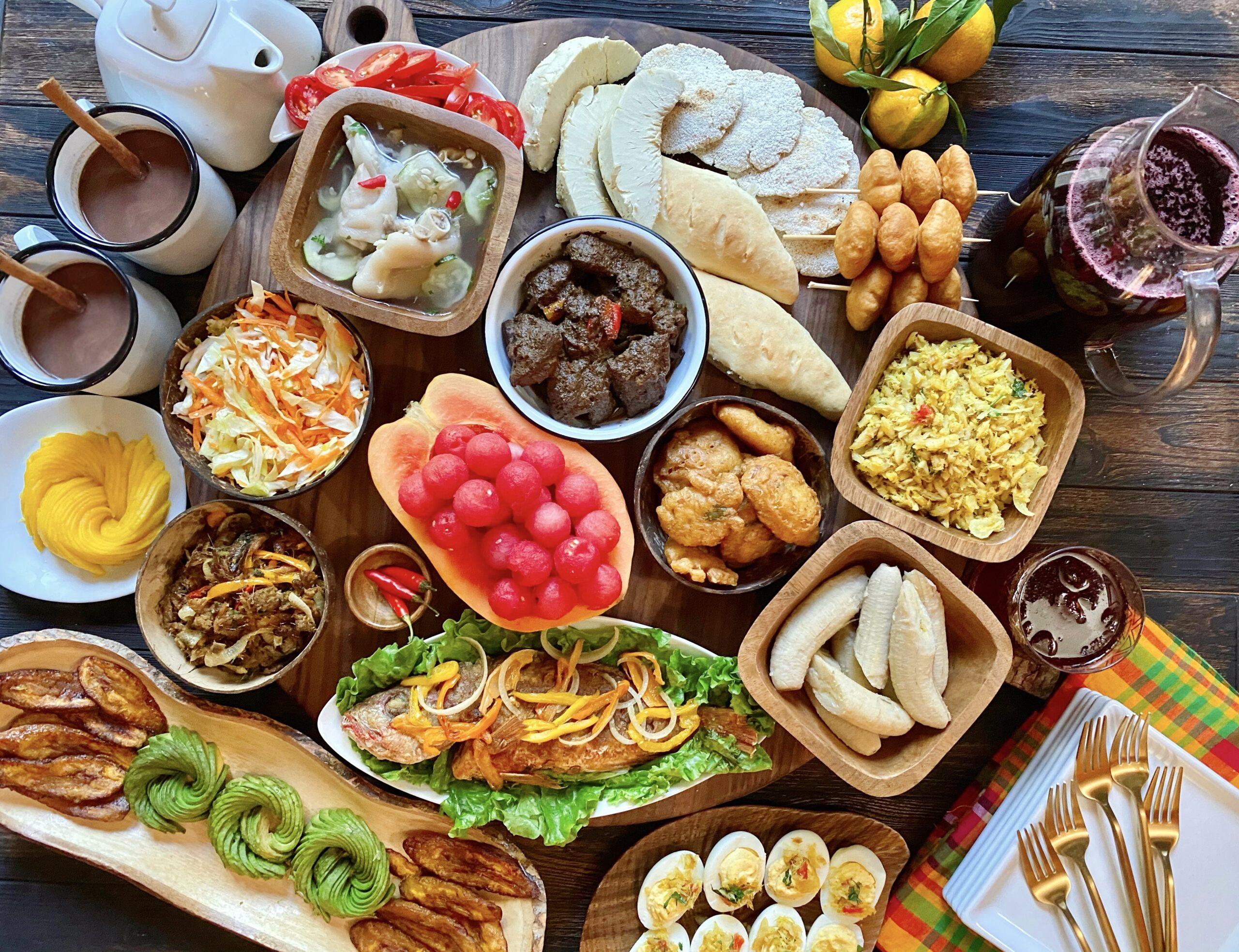 Dominica creole breakfast platter