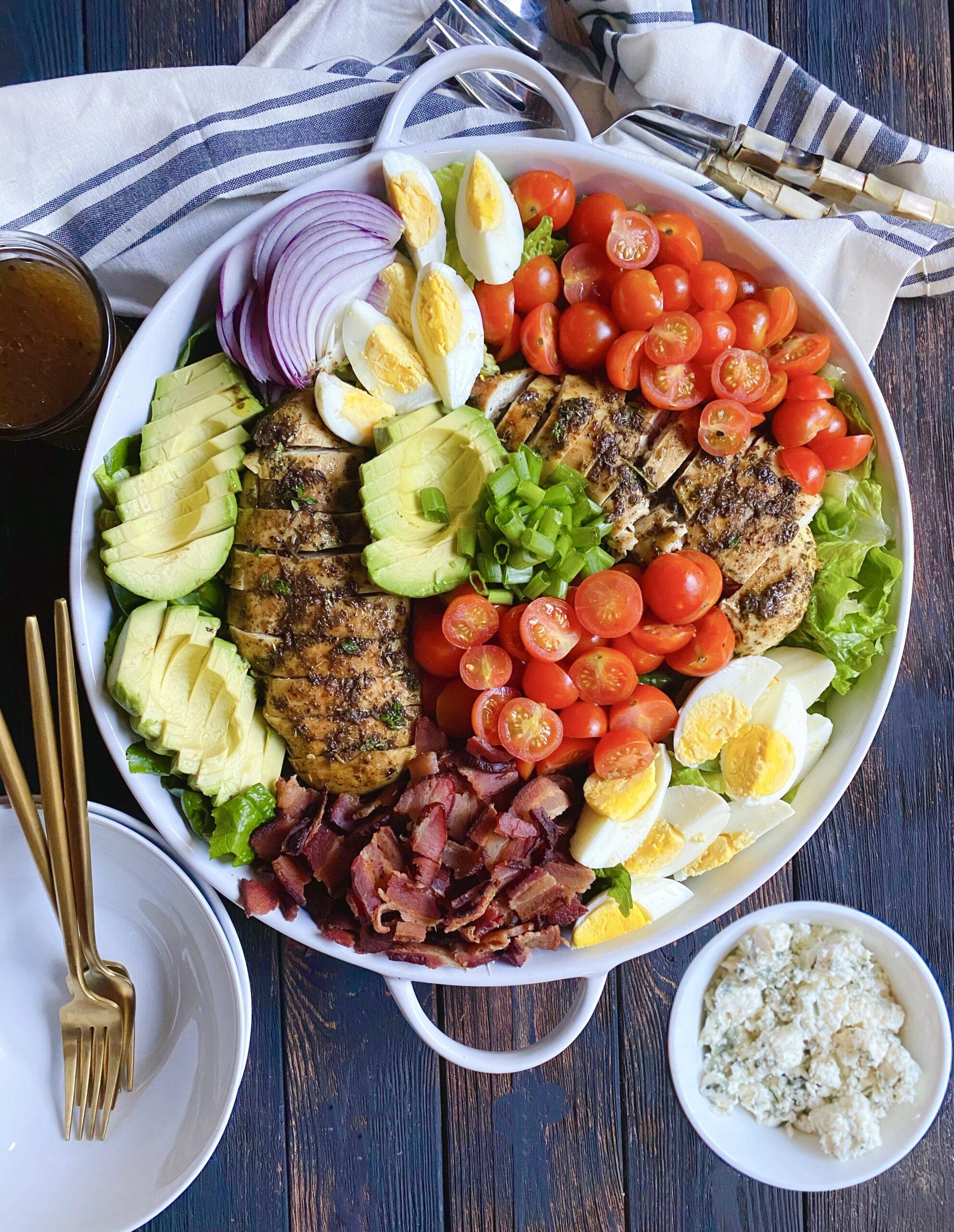 cobb salad with jerk chicken breast