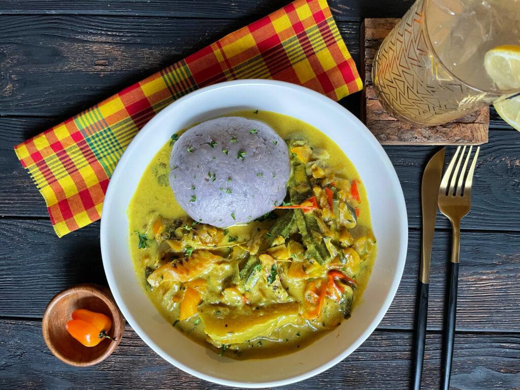Dasheen ton ton with sancoche recipe